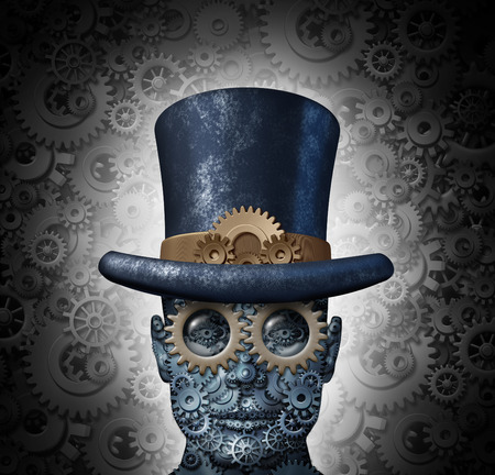 Photo pour Steampunk science fiction concept as a fantasy mechanical human head made of gears and cogs wearing a historical victorian retro top hat as a technology symbol of futuristic fictional machine hybrid  - image libre de droit