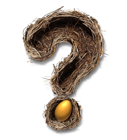 Photo for Retirement nest egg questions and savings as a financial planning business concept with a bird nest metaphor shaped as a question mark with a golden egg on a white background  - Royalty Free Image