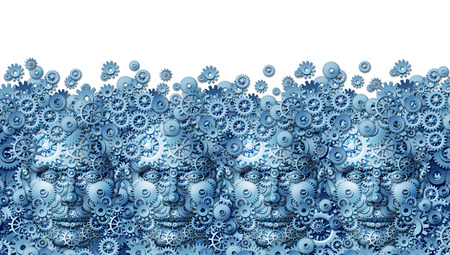 Photo pour Teamwork concept as a working business group of human heads shaped with machine gears and cog wheels connected together as a technology symbol for future computing collaboration through social media on a white background  - image libre de droit