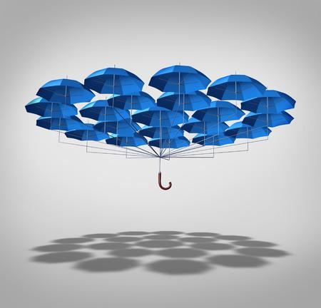 Foto de Extra security concept as a wide group of blue umbrellas connected together as one umbrella as a symbol of supplemental full protection  - Imagen libre de derechos