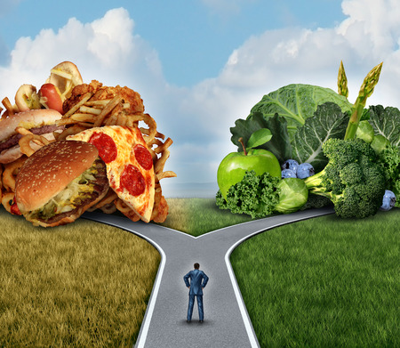 Foto de Diet decision concept and nutrition choices dilemma between healthy good fresh fruit and vegetables or greasy cholesterol rich fast food with a man on a crossroad trying to decide what to eat for the best lifestyle choice. - Imagen libre de derechos