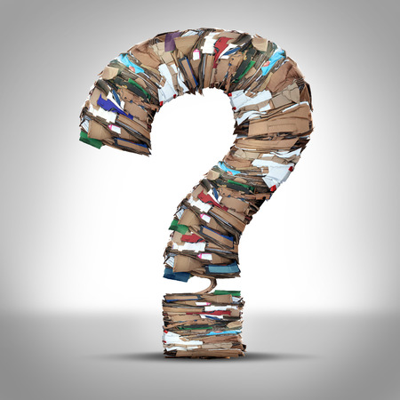 Photo for Recycle Cardboard Paper Questions and recycling cardboard packaging concept with stacks of compressed corrugated paper garbage shaped as a question mark as a symbol for conservation and environmental technology business issues. - Royalty Free Image