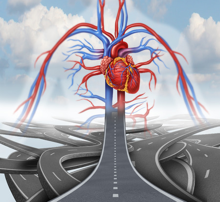 Photo for Road to health medical health care concept as a group of tangled roads with one straight path leading to a human cardiovascular heart system in the sky as a symbol for rehabilitation and habits for living a healthy lifestyle with nutrition and fitness. - Royalty Free Image