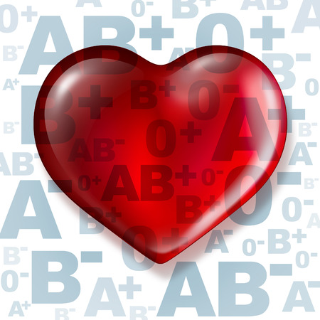 Foto de Donating blood and human donation concept as a group of letters as a symbol of blood types with a heart shaped red liquid as a medical metaphor for helping others and being a donor of the gift of life. - Imagen libre de derechos