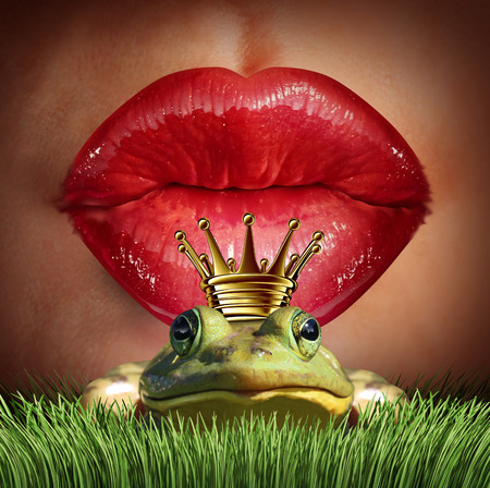 Photo pour Love Match and finding prince charming  or mr right concept as red female lips getting ready to kiss a frog prince wearing a crown as a metaphor for finding romance and relationship online dating symbol. - image libre de droit