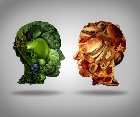 Photo pour Lifestyle choice and dilemma concept as a two human faces one made of fresh green vegetables and fruit and the other head shaped with greasy fast food as hamburgers and fried foods as a symbol of nutrition facts and healthy living issues. - image libre de droit