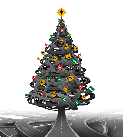 Photo pour Creative Christmas tree made from a group of tangled roads and highways with traffic signs as decoration ornaments  as a symbol for the stress of the holiday season and finding gift buying advice and guidance or winter driving. - image libre de droit