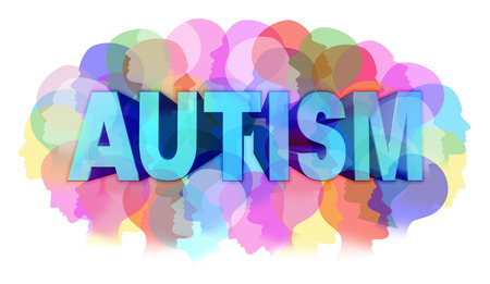 Foto de Autism diagnosis and autistic disorder concept or ASD concept as a group of human faces showing the color specrtrum as a mental health issue symbol for medical research and community education support and resources. - Imagen libre de derechos