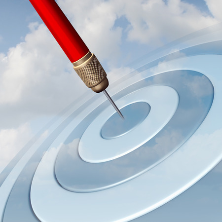 Photo pour Target Marketing business concept as a red dart hitting the center of a dartboard image in the sky as a success metaphor for winning and aspire to a focused strategy  to aim for success. - image libre de droit