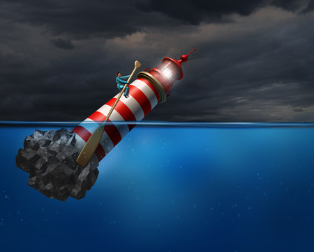 Photo pour Empower concept as a person using a lighthouse beacon as if it was a oar guiding the business symbol with an oar as a success metaphor for taking control of your career direction or life path. - image libre de droit
