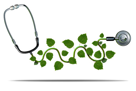Foto de Natural medicine and alternative therapy concept as a doctor stethoscope with plant leaves growing on the medical equipment as a symbol for green health. - Imagen libre de derechos