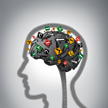 Foto de Mental stress and brain health problems as a group of roads and streets shaped as a human head and mind with confused traffic signs as a symbol for psychological issues. - Imagen libre de derechos