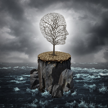 Photo for Failure crisis concept and lost business career or education opportunity metaphor as a dying tree shaped as a human head alone on a rock cliff with dry ground surrounded by an ocean. - Royalty Free Image