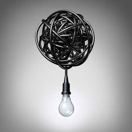 Photo pour Creative advice concept as a lightbulb or light bulb hanging down from a tangled chaos of twisted electric cord as a success metaphor and creativity resolution symbol. - image libre de droit