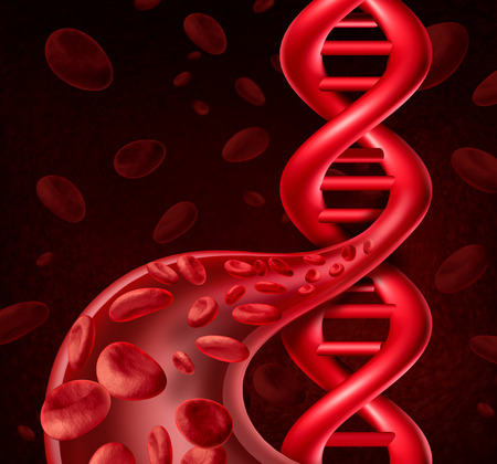 Foto de DNA blood cell concept as human viens and arteries shaped as a double helix symbol for genetic information or biological engineering. - Imagen libre de derechos