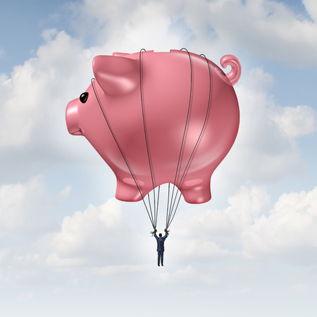 Photo for Financial freedom concept as a piggy bank hot air balloon lifting a businessman up to success as a wealth management and investment advice metaphor. - Royalty Free Image