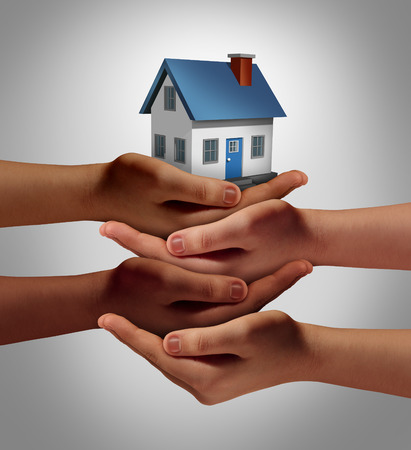Photo for Community housing concept and neighbor support or neighborhood watch symbol as a connected group of diverse hands supporting and holding a family home as a metaphor for friendly residents. - Royalty Free Image