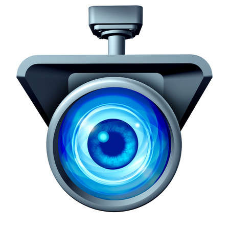Video surveillance and big brother is watching concept as a security camera monitoring the public with a large eye spying as a symbol for privacy rights issues isolated on a white background.