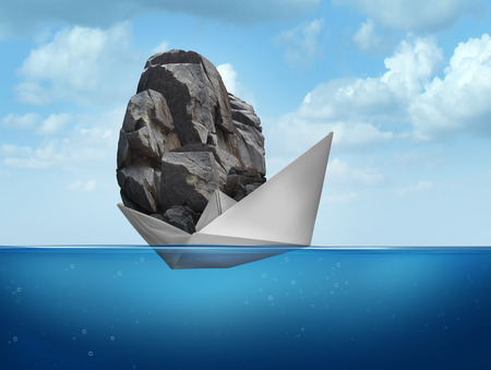 Foto de Impossible concept as a paper boat transporting a heavy rock boulder as a business symbol for overachieving and the power of determined potential to do things that are unbelievable. - Imagen libre de derechos