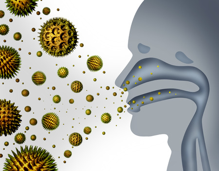 Foto de Hay fever and pollen allergies and medical allergy concept as a group of microscopic organic pollination particles flying in the air with a human breathing diagram as a health care symbol of seasonal illness. - Imagen libre de derechos