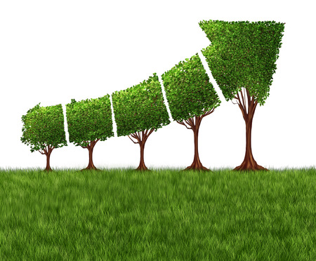 Foto de Economic graph chart and eco or ecological development concept as a group of trees coming together in the shape of an arrow pointing upwards as a success metaphor for profits and growth. - Imagen libre de derechos