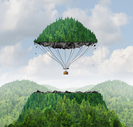 Photo for Imagination concept as a person lifting off with a detached top of a mountain floating up to the sky as a hot air balloon as a metaphor for the power of imagining traveling and dreaming of moving mountains. - Royalty Free Image