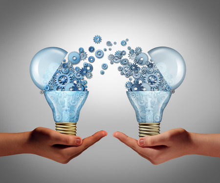 Foto de Ideas agreement Investing in business innovation concept and financial commerce backing of creativity as an open lightbulb symbol for funding potential innovative growth prospect through venture capital. - Imagen libre de derechos