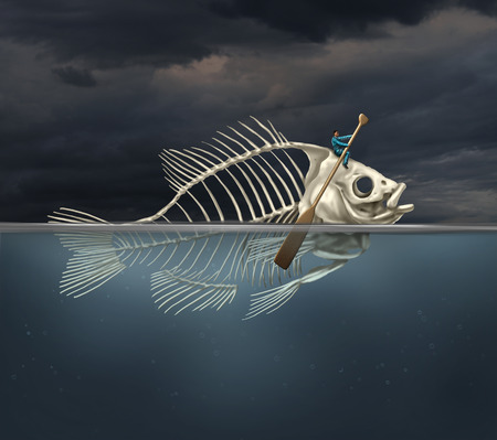 Foto de Resourcefulness recovery and ability business concept and managing a financial or environmental disaster crisis as a salvaging businessman on a fish skeleton rowing with a boat paddle towards new opportunities or climate change solution. - Imagen libre de derechos