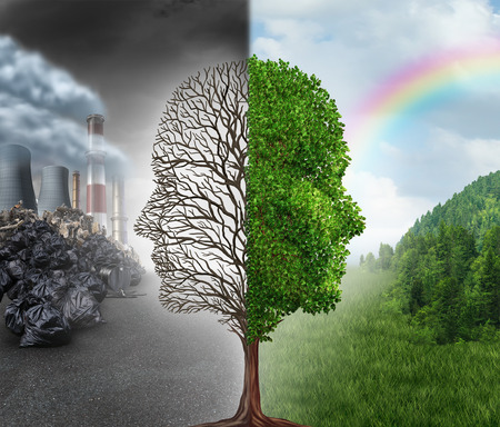 Photo pour Environment change and global warming environmental concept as a scene cut in two with one half showing a dead tree shaped as a human head with pollution and the opposite with healthy green clean air and plants. - image libre de droit