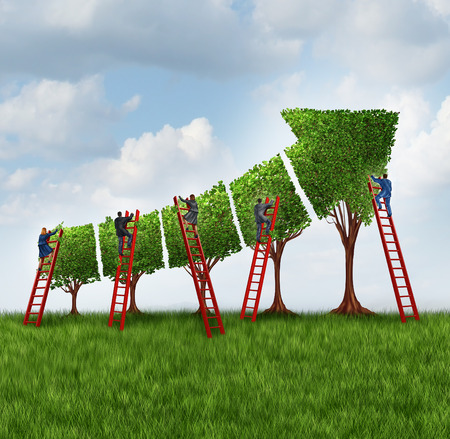 Photo pour People group investing and financial services business concept as a team of corporate workers and employees with businessmen and businesswomen on a red ladder caring for trees shaped as a finance chart arrow going up. - image libre de droit