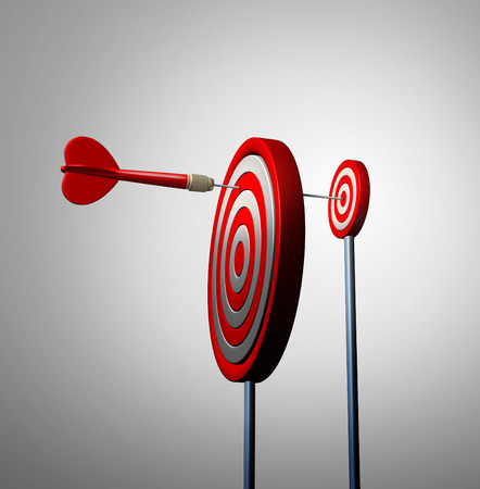 Photo pour Find an opportunity out of view and hidden opportunities business concept as a red dart reaching over to the next target bulls eye to achieve success as a financial metaphor for long strategy and winning goal vision. - image libre de droit