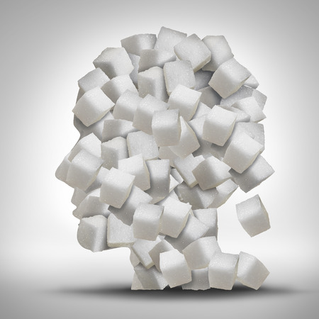Photo for Sugar addiction concept as a human head made of white granulated refined sweet cubes as a health care symbol for being addicted to sweeteners and the medical issues pertaining to processed food. - Royalty Free Image