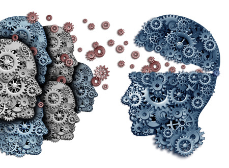 Foto de Employee training a group to lead and learn a team of workers learning from a leader sharing a common strategy and vision for developing work skills for success as gears and cogs shaped as a human head on a white background. - Imagen libre de derechos