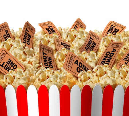 Photo for Movie popcorn tickets border as a group of popped corn snacks with cinema ticket stubs in the food as a theatrical symbol for entertainment and the arts on an isolated white background. - Royalty Free Image