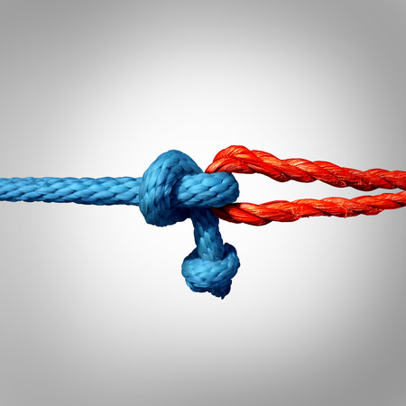Photo pour Connected concept as two different ropes tied and linked together as an unbreakable chain as a trust and faith metaphor for dependence and reliance on a trusted partner for support and strength. - image libre de droit