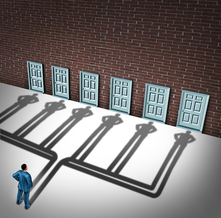 Photo pour Businessman door choice concept as a person deciding to choose the right doorway with a cast shadow of multiple people from a group of entrance possibilities as a metaphore for increasing the odds of career success. - image libre de droit