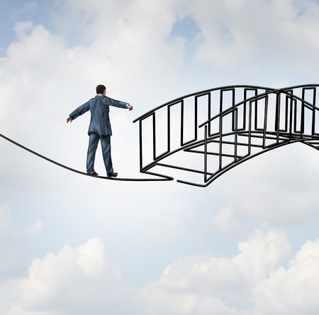 Foto de Risk reduction concept as a businessman on a tightrope walking on a wire that becomes shaped as a safe three dimensional bridge as a symbol of security and controlling uncertainty with a protection guarantee increase. - Imagen libre de derechos