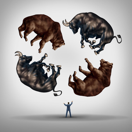 Foto de Investing in stocks concept as a financial advisor or stock broker businessman juggling a group of bears and bulls as a symbol and metaphor for the challenge and skill required for financial management of an investment portfolio. - Imagen libre de derechos