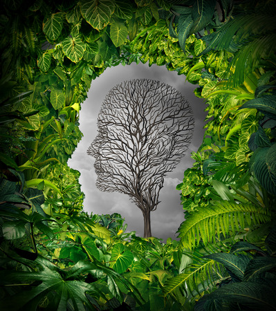 Foto de Inside depression concept and inner feelings of distress as a mental health symbol with a healthy green plant jungle window shaped as a human head and a dead tree as a suffering face for psychology examination. - Imagen libre de derechos