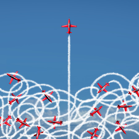 Photo pour Management leadership concept and managing a crisis as a business symbol with a group of acrobatic jet airplanes creating confused tangled smoke trails with one jet breaking free to a clear path of risk opportunity as a metaphor for organization success. - image libre de droit