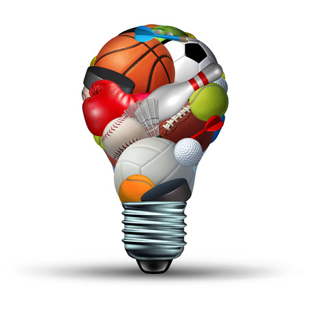 Sports activity ideas concept as a lightbulb shape on a white background with sports equipment as football soccer basketball boxing golf tennis  as a symbol for physical fitness and exercise for a healthy leisure active lifestyle.