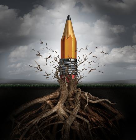 Foto de Creativity concept and creativity symbol as the rise of ideas and innovation as a pencil emerging out from underground roots breaking free from branches as a planning and design success metaphor. - Imagen libre de derechos