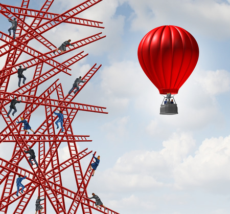 Foto de New strategy and independent thinker symbol and new innovative thinking leadership concept or individuality as a group of people climbing ladders in confusing directions with one team of employees in a red balloon going up in a clear direction. - Imagen libre de derechos