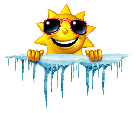 Foto de Summer cool down concept and cooling off idea as a sun character icon holding on to a chunk of snow and ice with icicles as a symbol for managing hot weather summer heat and a refreshing break from a heatwave. - Imagen libre de derechos
