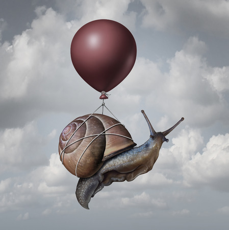 Photo for Success concept  and business advantage idea or game changer symbol as a balloon lifting up a slow generic snail as a new strategy and innovation metaphor for creative,thinking. - Royalty Free Image