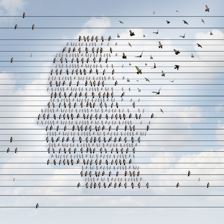 Photo pour Alzheimer disease concept as a medical mental health care idea as a group of perched birds on an electrical wire flying away shaped as a side profile of a human face as a symbol for neurology and dementia or memory loss. - image libre de droit