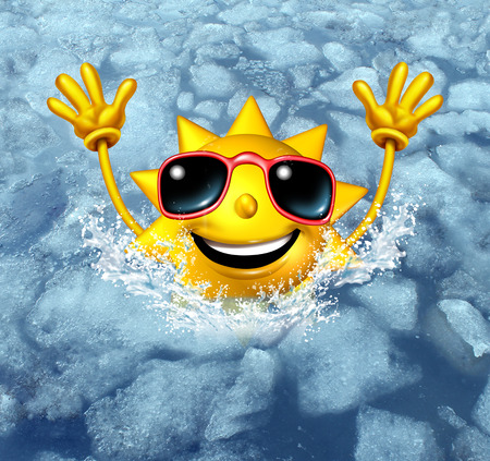 Foto de Coooling off fun and cool down concept as a happy hot sun character diving into frozen ice water as a symbol for managing hot weather summer heat and refreshing break from a heatwave. - Imagen libre de derechos