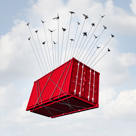 Foto de Air cargo concept as a metal transport container being lifted with a group of birds as a surreal delivery and overseas shipping symbol or international business trade. - Imagen libre de derechos
