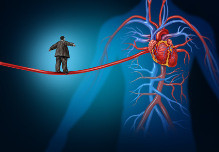 Foto de Risk factors for heart disease danger as a medical health care lifestyle concept with an overweight person walking on an elongated artery  - Imagen libre de derechos