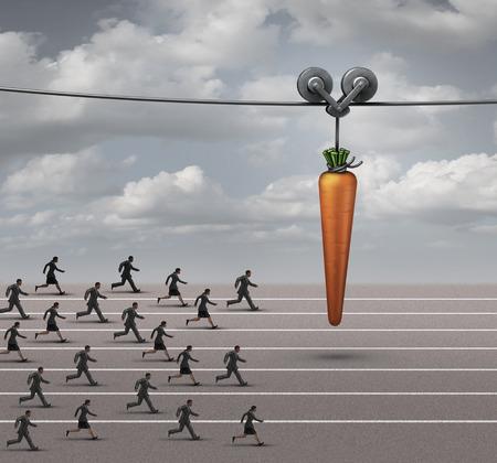 Foto de Employee incentive business concept as a group of businessmen and businesswomen running on a track towards a dangling carrot on a moving cable as a financial reward metaphor to motivate for a goal. - Imagen libre de derechos